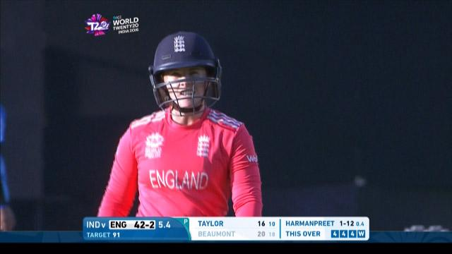 Tammy Beaumont Wicket Fall ENG V IND Video ICC Womens WT20 2016