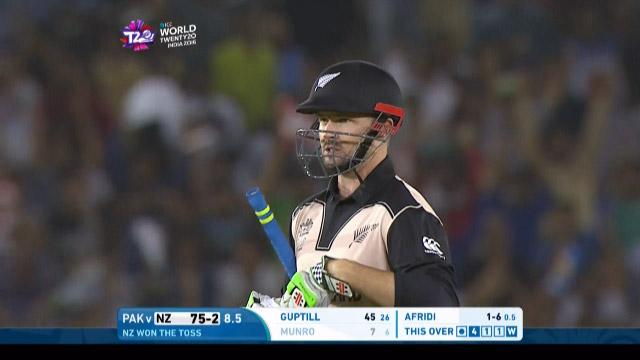 Colin Munro Wicket Fall NZ V PAK Video ICC WT20 2016