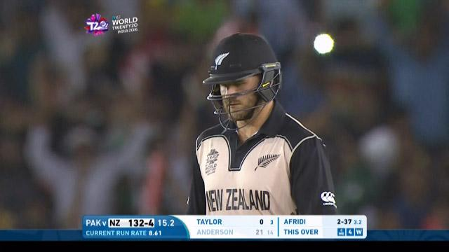 Corey Anderson Wicket Fall NZ V PAK Video ICC WT20 2016