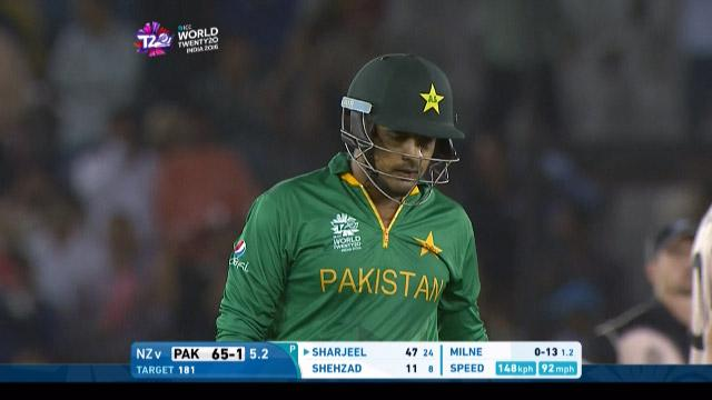 Sharjeel Khan Wicket Fall NZ V PAK Video ICC WT20 2016