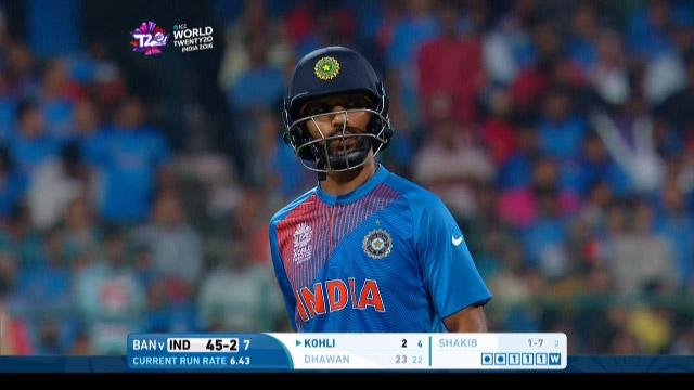 Shikhar Dhawan Wicket Fall IND V BAN Video ICC WT20 2016