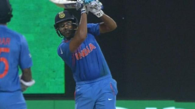 Rohit's glorious straight Six
