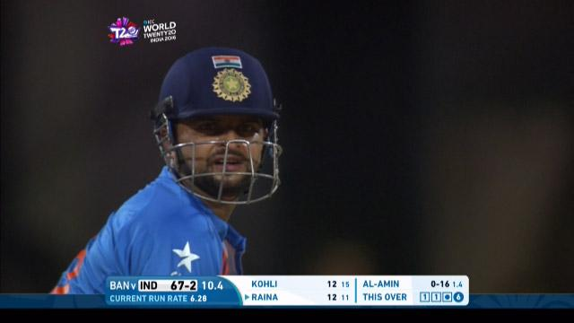 Suresh Raina Wicket Fall IND V BAN Video ICC WT20 2016