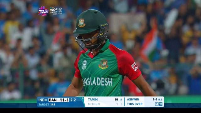 Mohammad Mithun Wicket Fall IND V BAN Video ICC WT20 2016