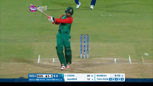 Tamim takes Bumrah for 16 off the over