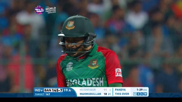 Mushfiqur Rahim Wicket Fall IND V BAN Video ICC WT20 2016