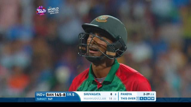 Mahmudullah Wicket Fall IND V BAN Video ICC WT20 2016