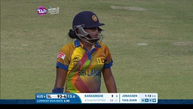 Chamari Atapattu Wicket Fall SL V AUS Video ICC Womens WT20 2016