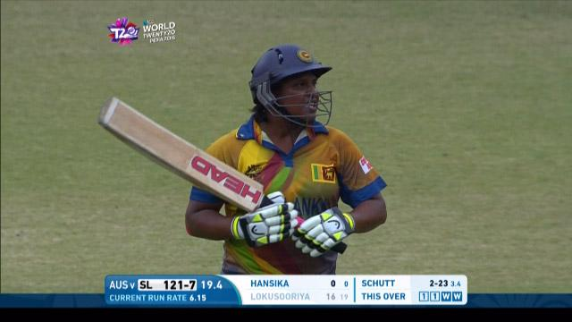 Eshani Lokusuriyage Wicket Fall SL V AUS Video ICC Womens WT20 2016