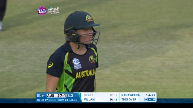 Australia wicket Losses v Sri Lanka Video ICC Womens WT20 2016