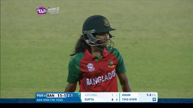 Sanjida Islam Wicket Fall BAN V PAK Video ICC Womens WT20 2016