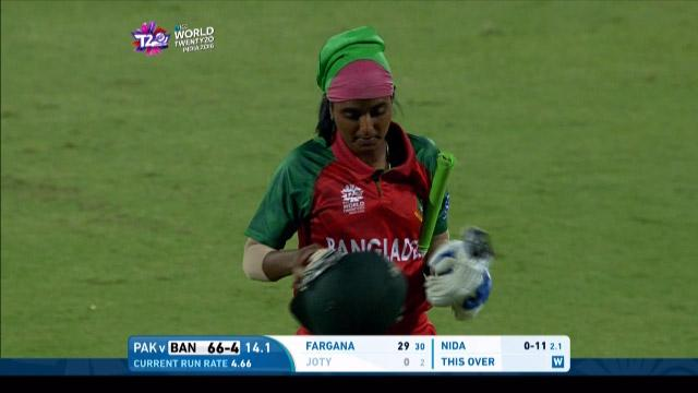 Nigar Sultana Wicket Fall BAN V PAK Video ICC Womens WT20 2016
