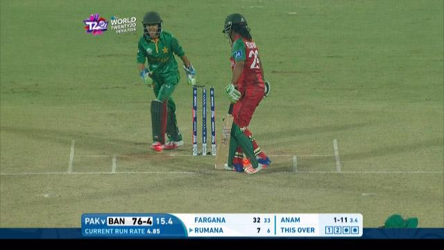 Bangladesh wicket Losses v Pakistan Video ICC Womens WT20 2016