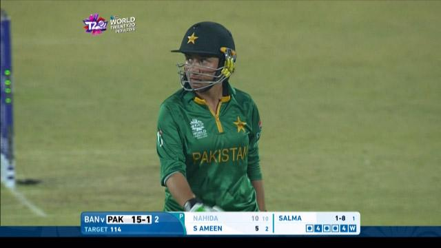 Nahida Khan Wicket Fall PAK V BAN Video ICC Womens WT20 2016