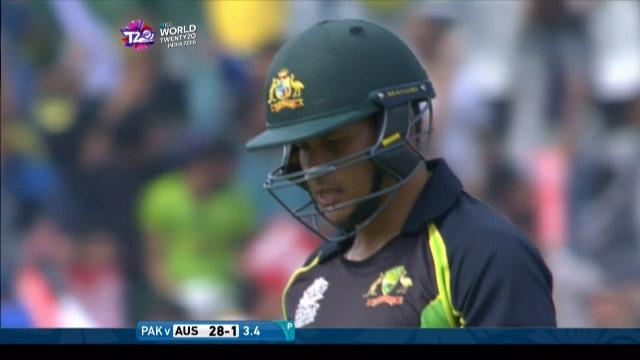 Usman Khawaja Wicket Fall AUS V PAK Video ICC WT20 2016