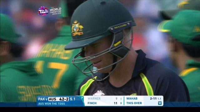 David Warner Wicket Fall AUS V PAK Video ICC WT20 2016