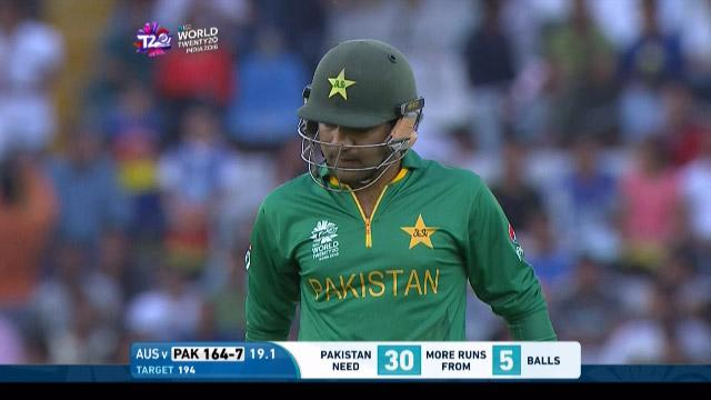 Sarfraz Ahmed Wicket Fall PAK V AUS Video ICC WT20 2016
