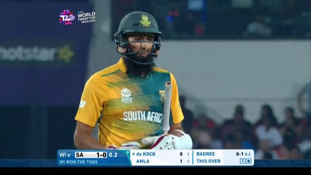 Hashim Amla Wicket Fall SA V WI Video ICC WT20 2016