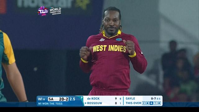 Chris Gayle celebrates taking wicket with dance!