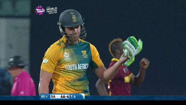 AB de Villiers Wicket Fall SA V WI Video ICC WT20 2016
