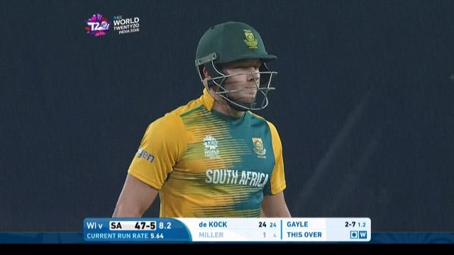David Miller Wicket Fall SA V WI Video ICC WT20 2016
