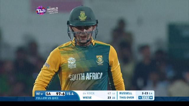 Quinton de Kock Wicket Fall SA V WI Video ICC WT20 2016
