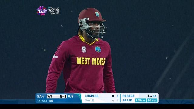 Chris Gayle Wicket Fall WI V SA Video ICC WT20 2016