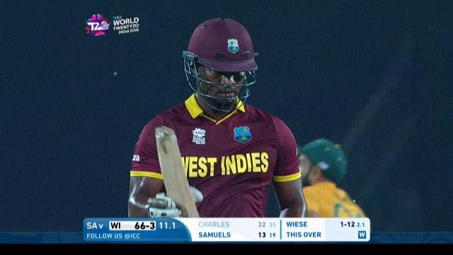 Johnson Charles Wicket Fall WI V SA Video ICC WT20 2016