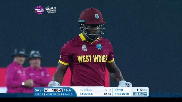 Andre Russell Wicket Fall WI V SA Video ICC WT20 2016