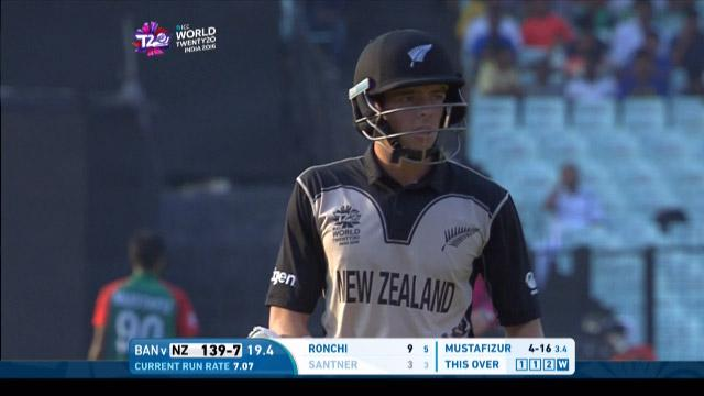 Mitchell Santner Wicket Fall NZ V BAN Video ICC WT20 2016