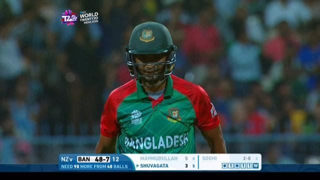 Mahmudullah Wicket Fall BAN V NZ Video ICC WT20 2016
