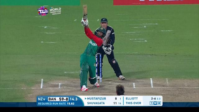 Mustafizur's hits a huge six