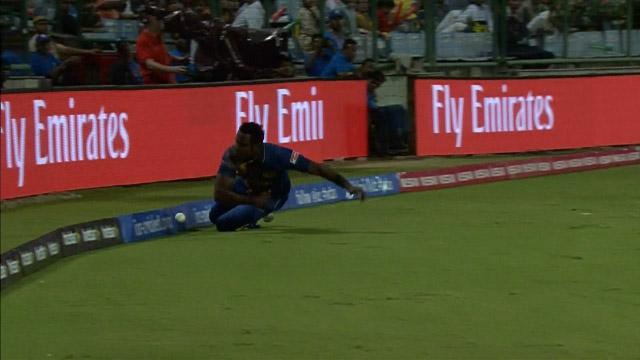 Angelo Mathews stunning boundary save effort
