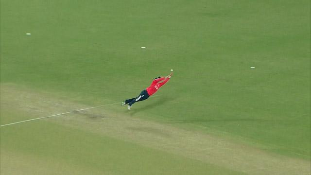 Morgan's spectacular diving catch effort