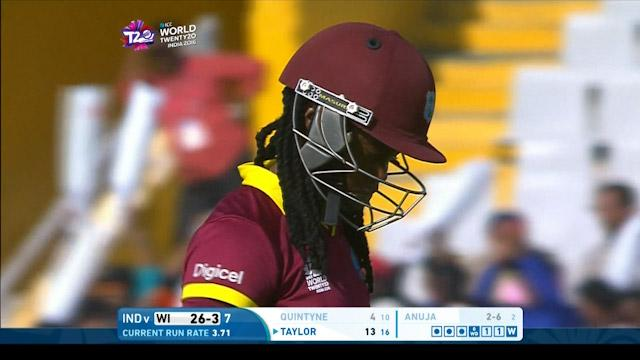 Shaquana Quintyne Wicket Fall WI V IND Video ICC Womens WT20 2016