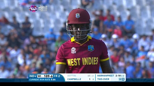 Deandra Dottin Wicket Fall WI V IND Video ICC Womens WT20 2016