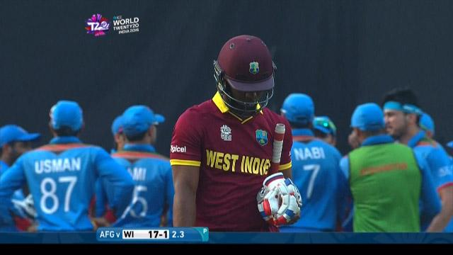 Evin Lewis Wicket Fall WI V AFG Video ICC WT20 2016