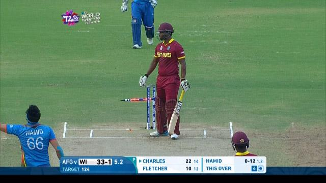 West Indies wicket Losses v Afganistan Video ICC WT20 2016