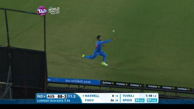 Raina makes fantastic boundary save
