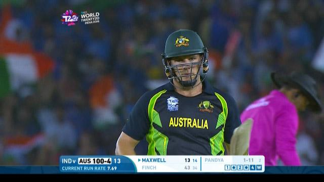 Aaron Finch Wicket Fall AUS V IND Video ICC WT20 2016