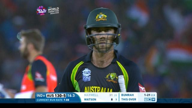 Glenn Maxwell Wicket Fall AUS V IND Video ICC WT20 2016