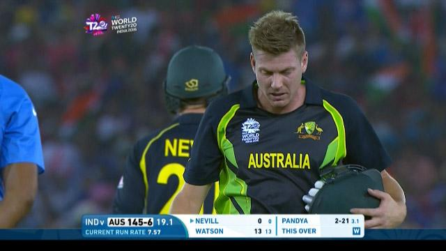 James Faulkner Wicket Fall AUS V IND Video ICC WT20 2016
