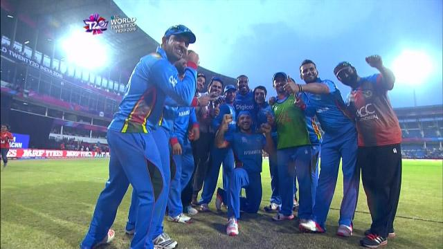 Shahzad and Gayle do the 'Champion' dance after Afghanistan win
