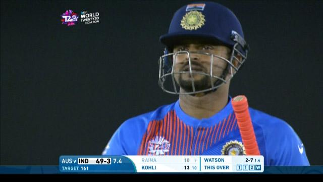 Suresh Raina Wicket Fall IND V AUS Video ICC WT20 2016