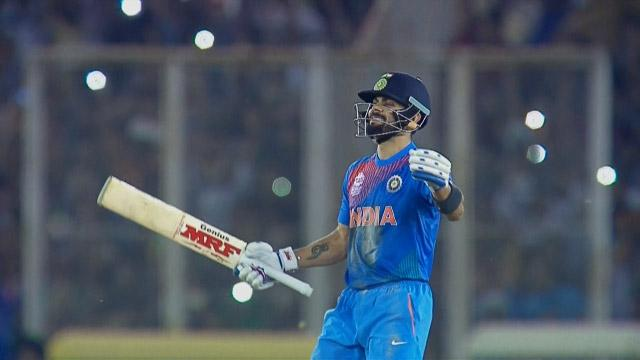 Virat Kohli celebrates guiding India to Semi-Finals