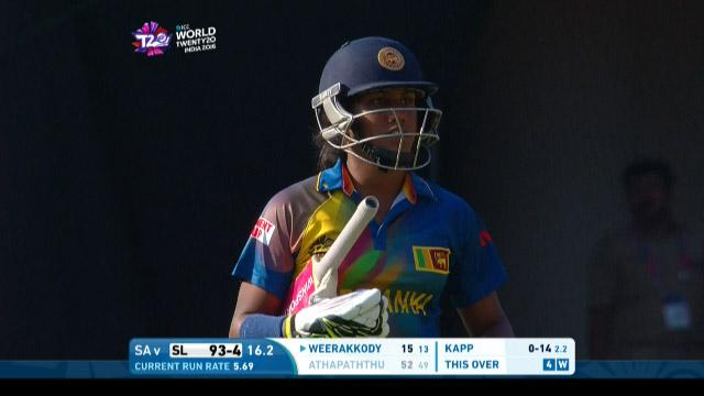 Chamari Atapattu Wicket Fall SL V SA Video ICC Womens WT20 2016