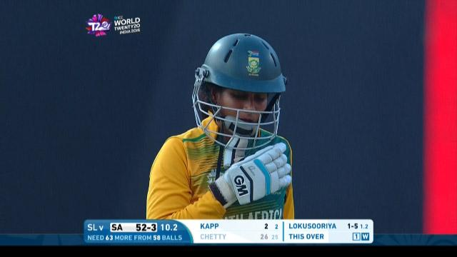 Trisha Chetty Wicket Fall SA V SL Video ICC Womens WT20 2016
