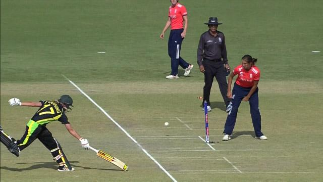 Shrubsole's direct hit ends  Meg Lanning's innings