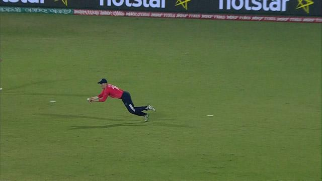 Morgan dives to take brilliant catch