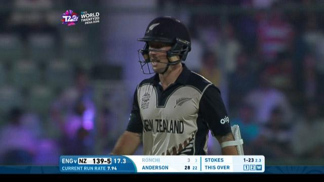 Luke Ronchi Wicket Fall NZ V ENG Video ICC WT20 2016